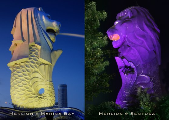 Travel Postcard - Singapore Merlion - Marina Bay & Sentosa