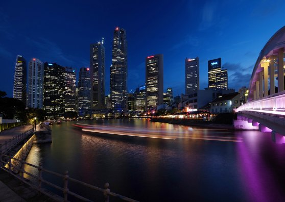 Travel Postcard - Singapore - Skyline at night