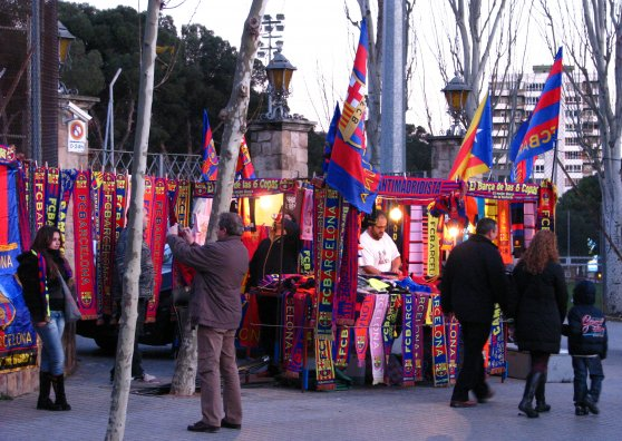 Travel Postcard - FC Barcelona fans outside Camp Nou