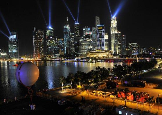 Travel Postcard - Night laser show Singapore