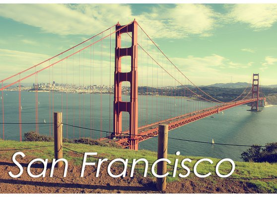 Travel Postcard - San Francisco Golden Gate Bridge (With Text)