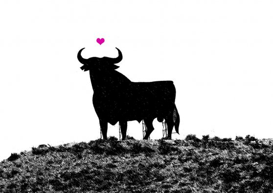 Travel Postcard - Bull in love - Spain