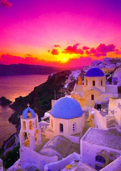 Travel Postcard - Sunset in Santorini - Greece