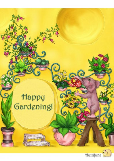 Travel Postcard - Hattifant's Gardening Mouse